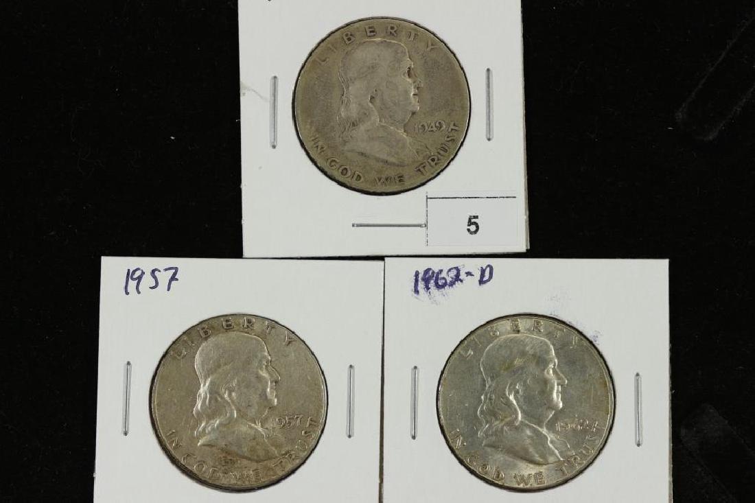1949-S,57 & 62-D FRANKLIN HALF DOLLARS