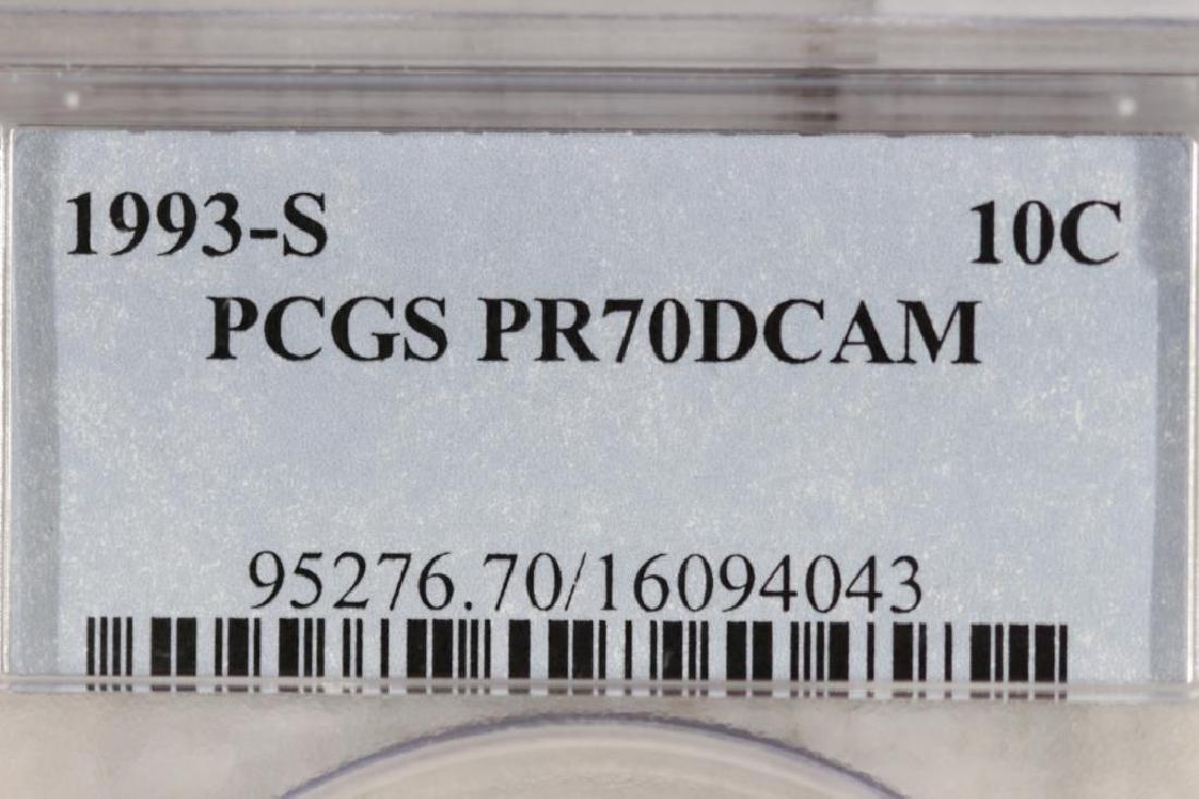 1993-S ROOSEVELT DIME PCGS PR70 DCAM - 3