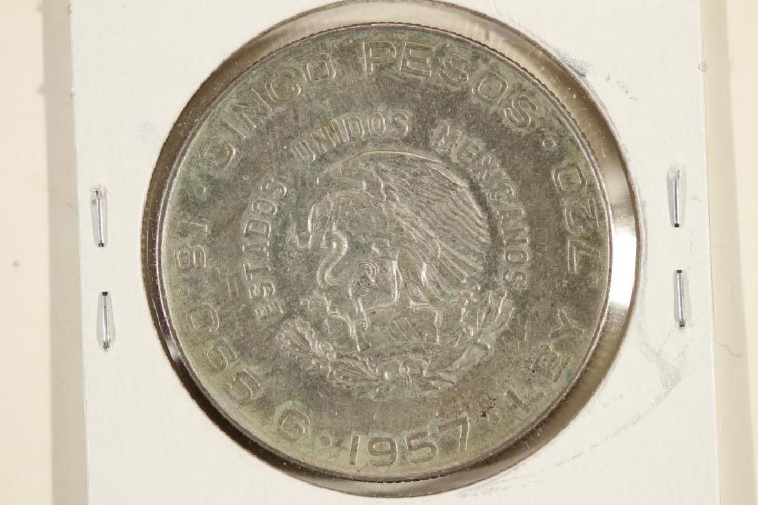 1957 MEXICO SILVER 5 PESOS .4178 OZ. ASW - 2