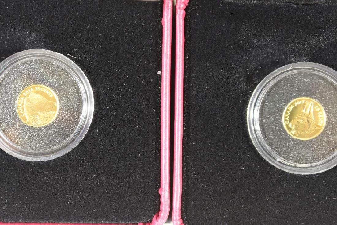 GOLD 2016 & 2017 CANADA 25 CENT PURE GOLD COINS