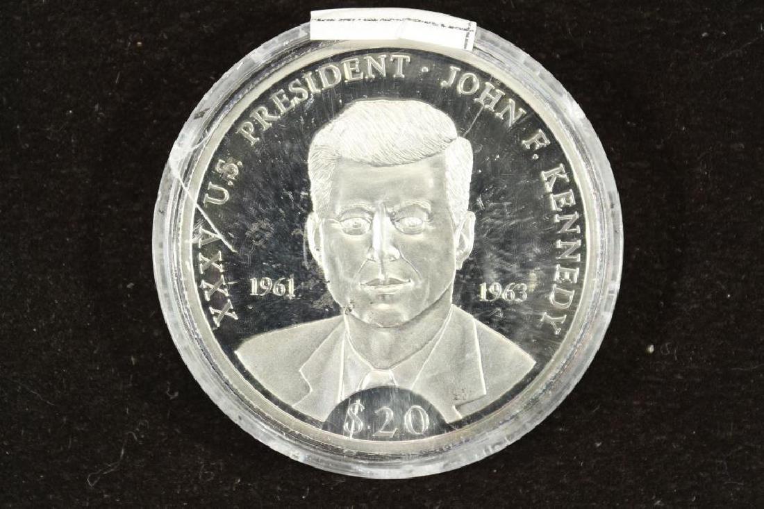 2000 REPUBLIC OF LIBERIA SILVER PROOF $20 JOHN F.