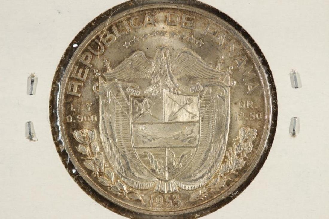 1953 PANAMA SILVER 1/2 BALBOA UNC .3617 OZ. ASW - 2