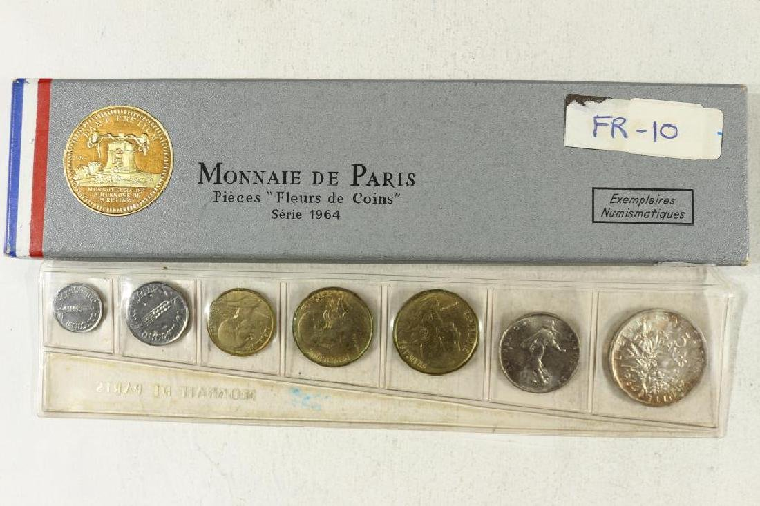 1964 FRANCE 7 COIN MINT SET WITH SILVER