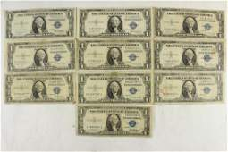 10 ASSORTED 1935 1 SILVER CERTIFICATES