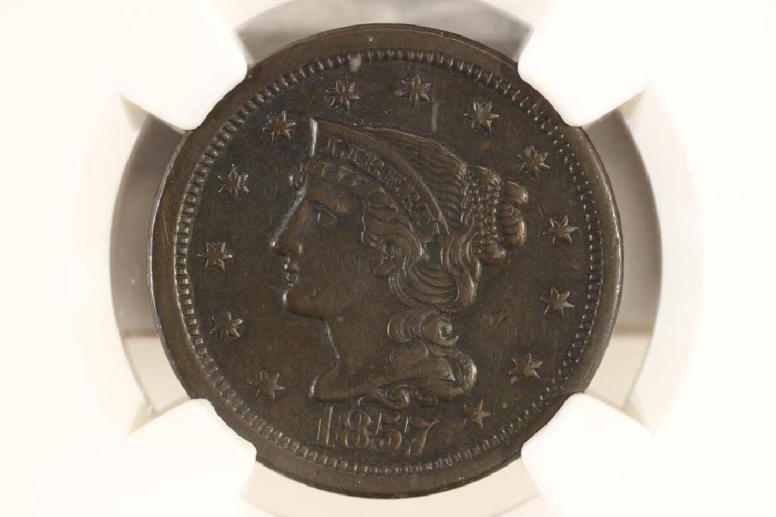 1857 US LARGE CENT N-1 NGC AU DETAILS