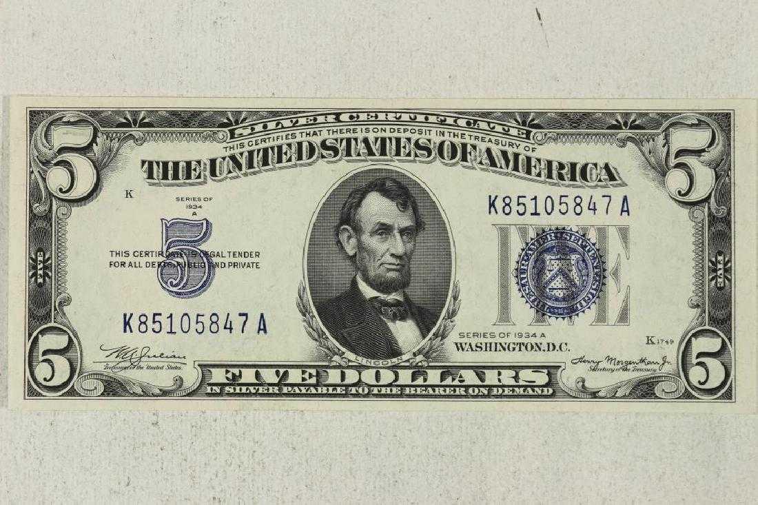 1934 A 5 Blue Seal Silver Certificate Crisp Unc
