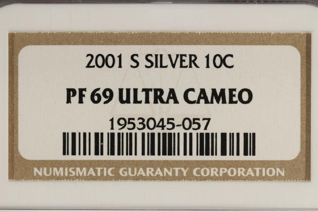 2001-S SILVER ROOSEVELT DIME NGC PF69 ULTRA CAMEO - 3