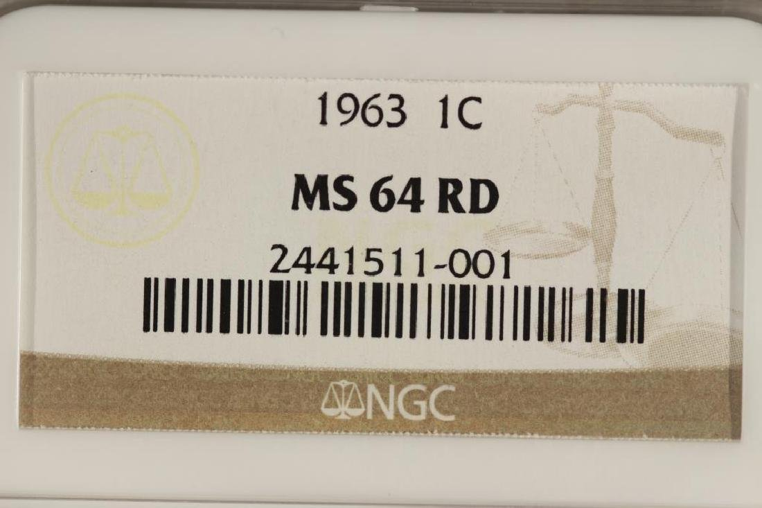 1963 LINCOLN CENT NGC MS64RD - 3