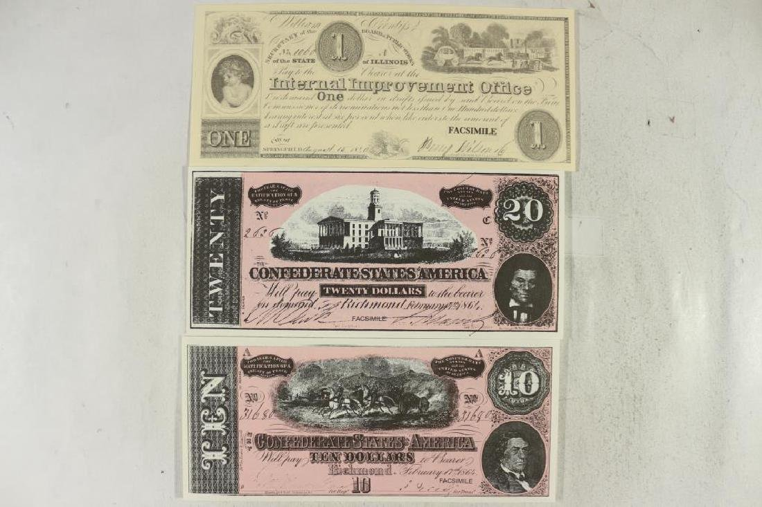 3 PIECES OF FACSIMILE CURRENCY SEE DESCRIPTION