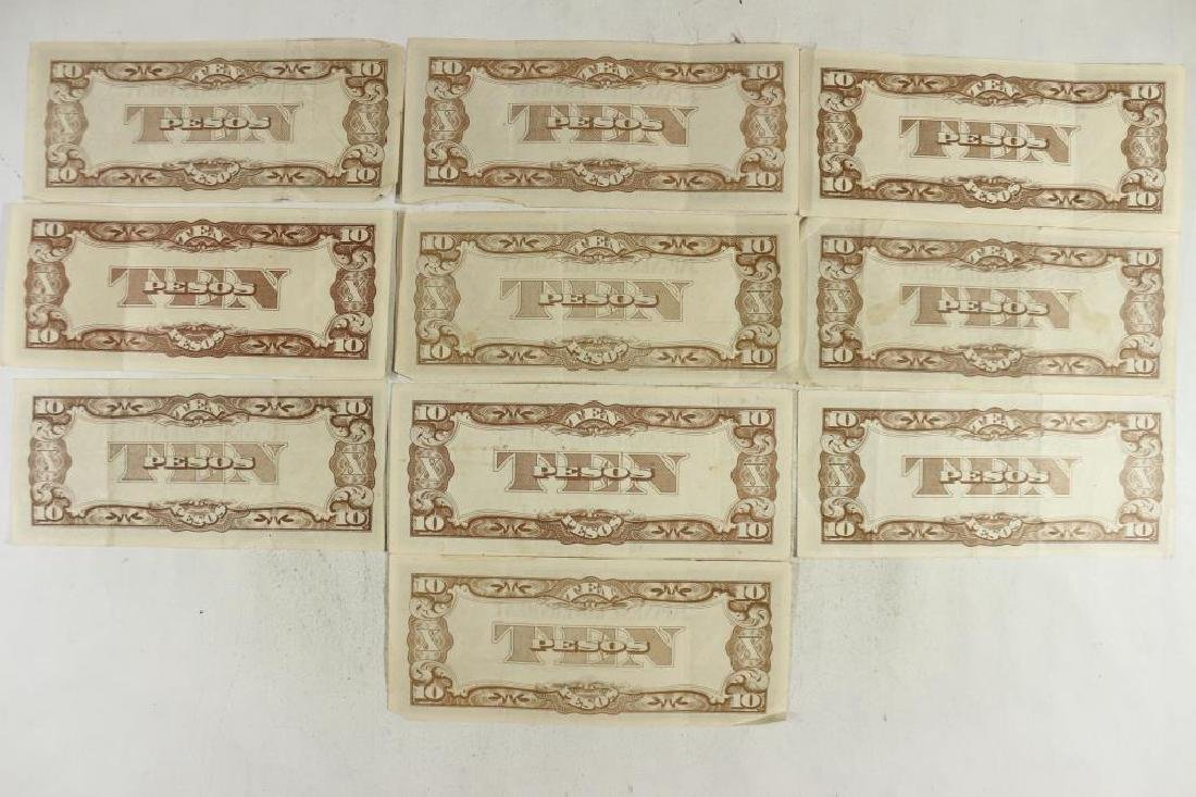 10 PIECES OF WWII JAPANESE GOVERNMENT 10 PESOS - 2