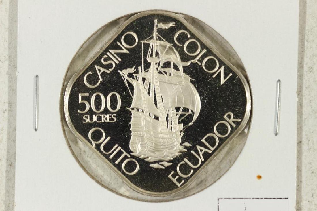 ECUADOR 500 SUCRES CASINO TOKEN SILVER PROOF