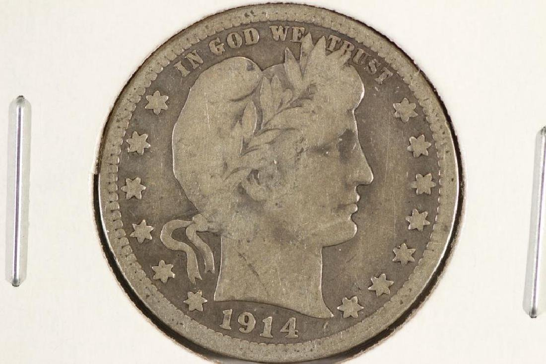 1914 BARBER QUARTER VERY GOOD