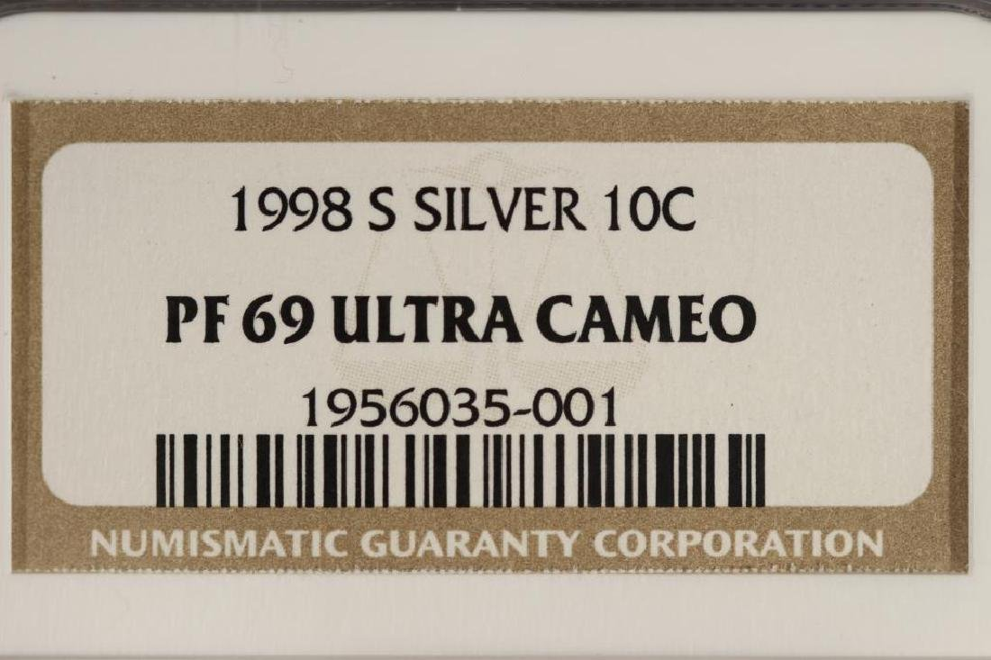 1998-S SILVER ROOSEVELT DIME NGC PF69 ULTRA CAMEO - 3