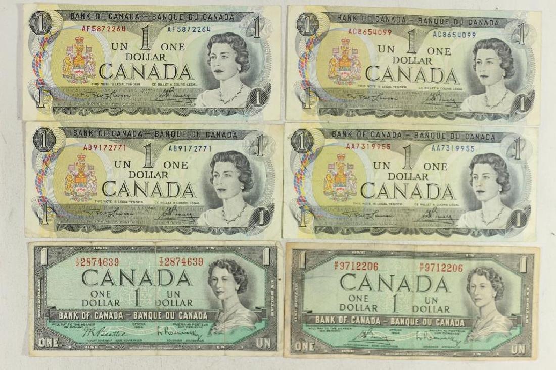 2-1954 & 4-1973 CANADA $1 BILLS