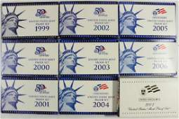 19992007 US PROOF SETS WITH BOXES 9 SETS TOTAL