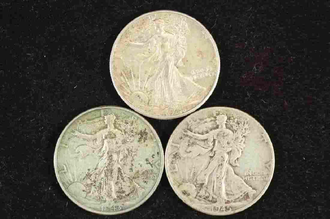 1941-D,43 & 45 WALKING LIBERTY HALF DOLLARS