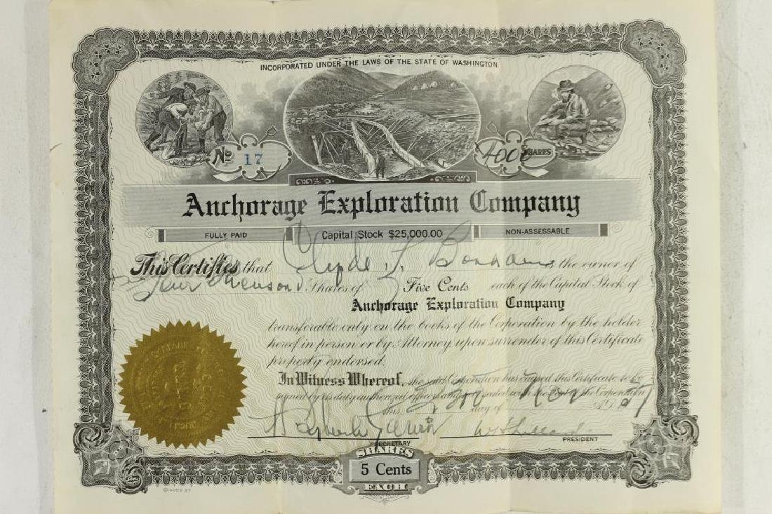 1937 ANCHORAGE EXPLORATION COMPANY STOCK CERT.