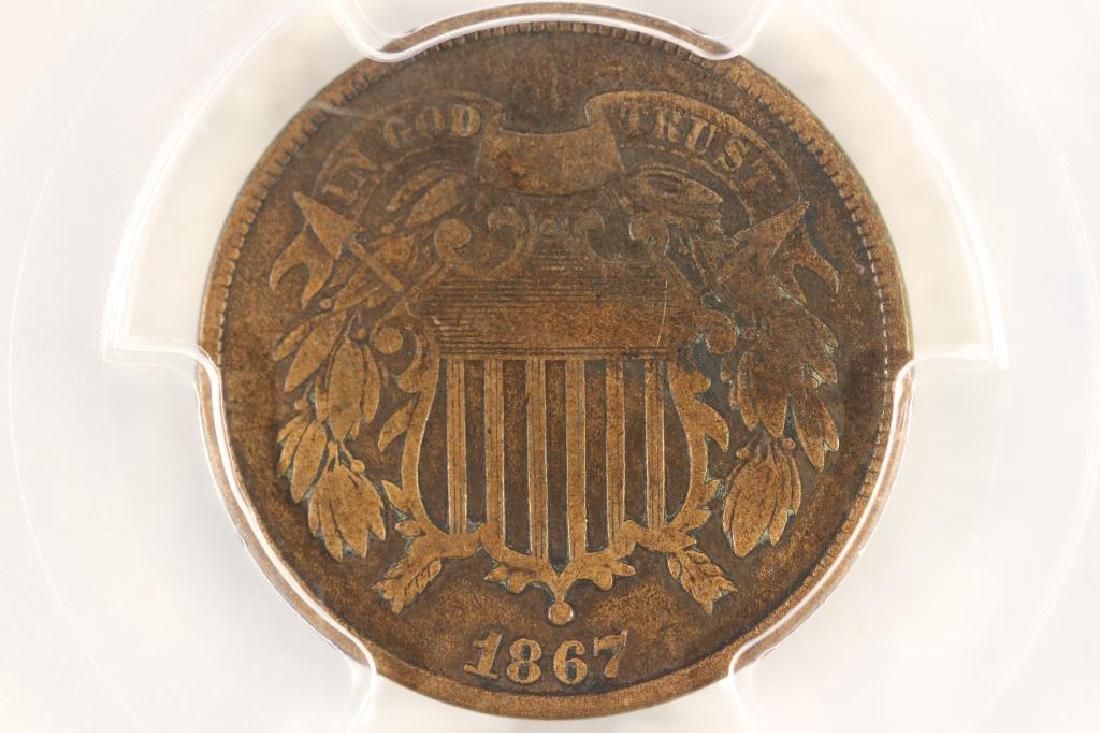 1867 US TWO CENT PIECE PCGS FINE DETAILS