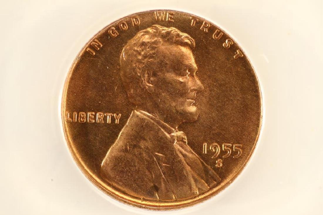 ERROR 1955-S LINCOLN CENT ANACS MS65 RED DIE