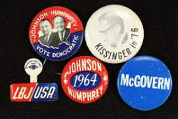 5 VINTAGE POLITICAL PIN BACK BUTTONS