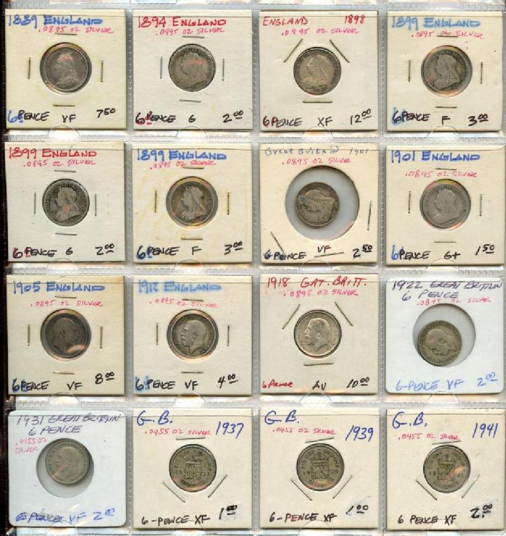Lot of 16 Great Britain Silver 6 Pence coins