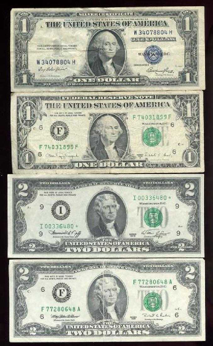 Lot Of 4 Us Currency Bills 1935e Silver Cert