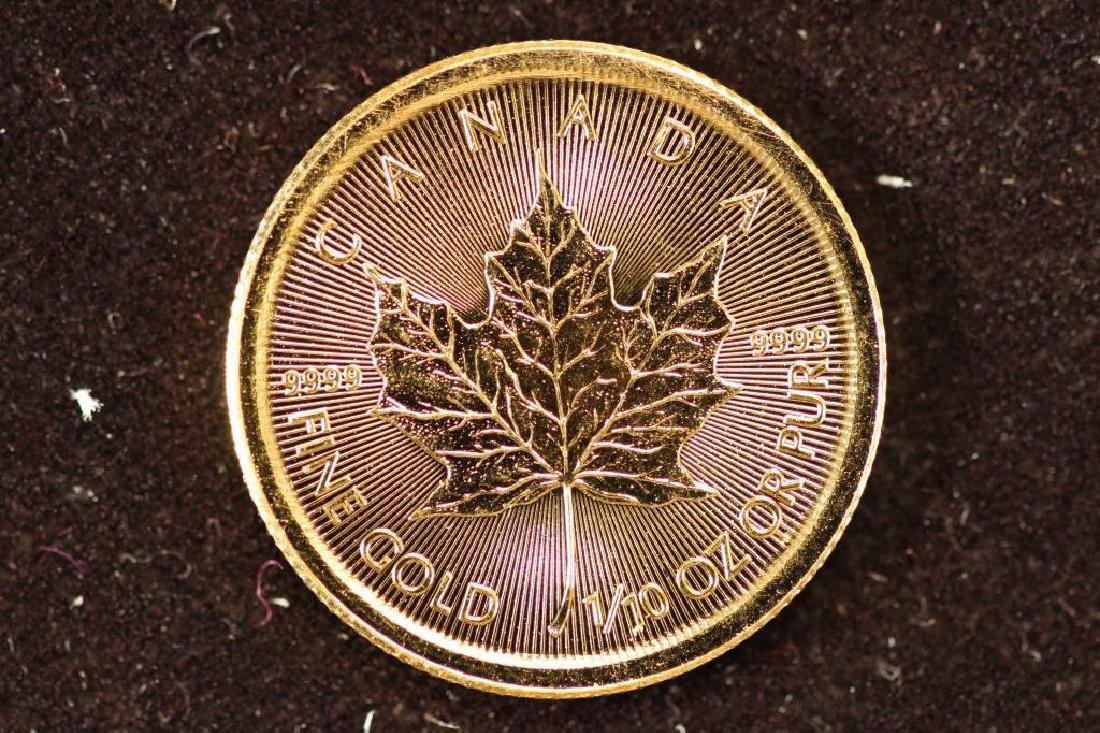 GOLD 2015 CANADA 1/10 OZ. $5 MAPLE LEAF .9999