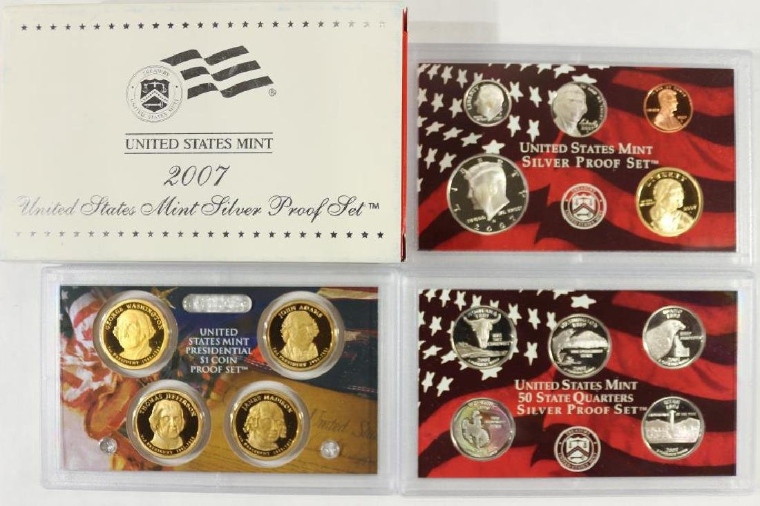 2007 SILVER US PROOF SET (WITH BOX) 14 PIECES