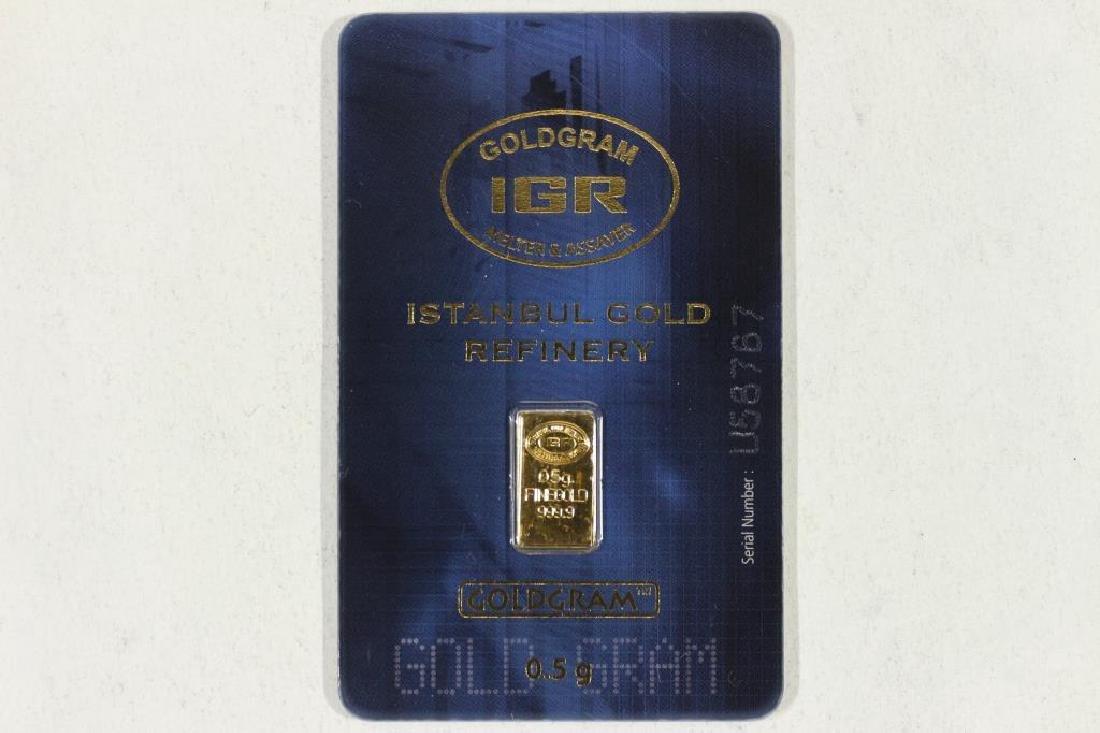 HALF GRAM 999.9 FINE GOLD INGOT ISTANBUL GOLD