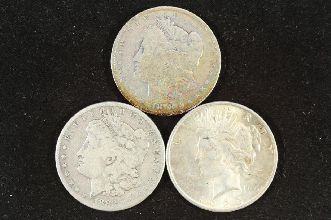 1878-S, 1882-S MORGAN & 1925 PEACE SILVER DOLLARS