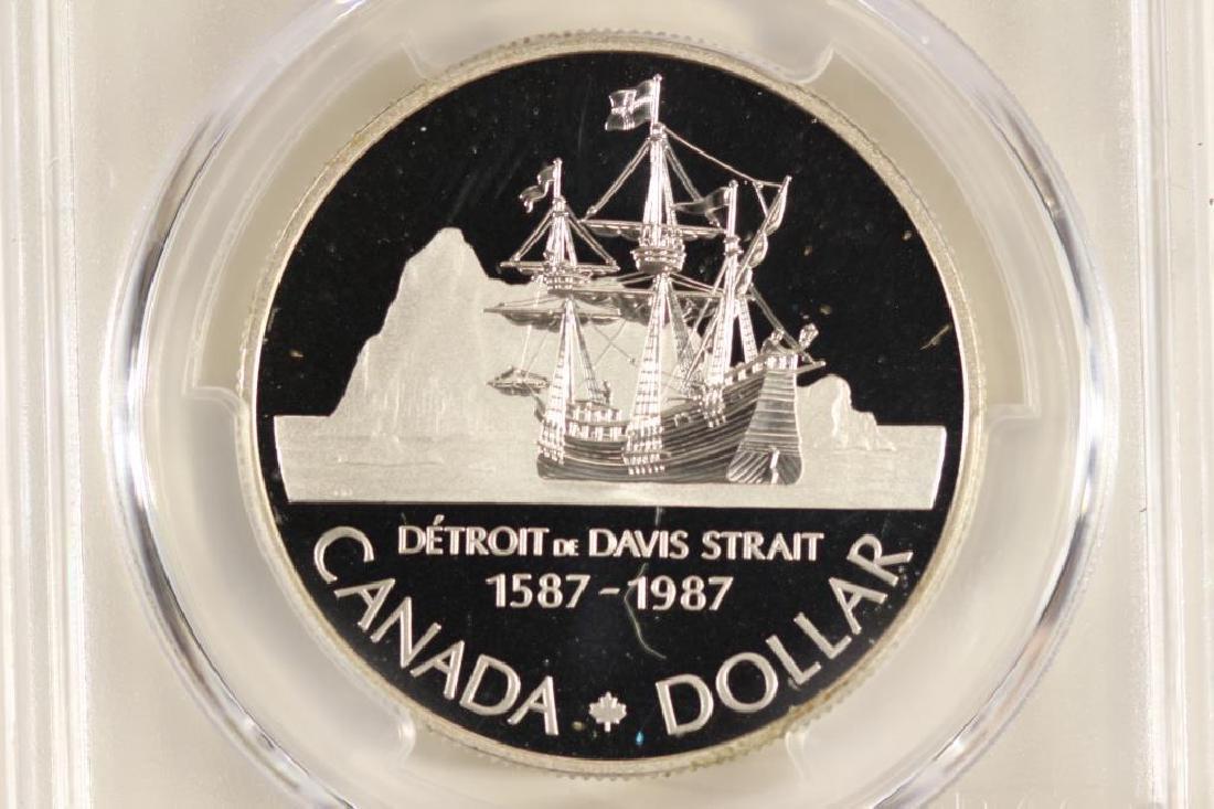 1987 CANADA JOHN DAVIS SILVER DOLLAR PCGS PR69