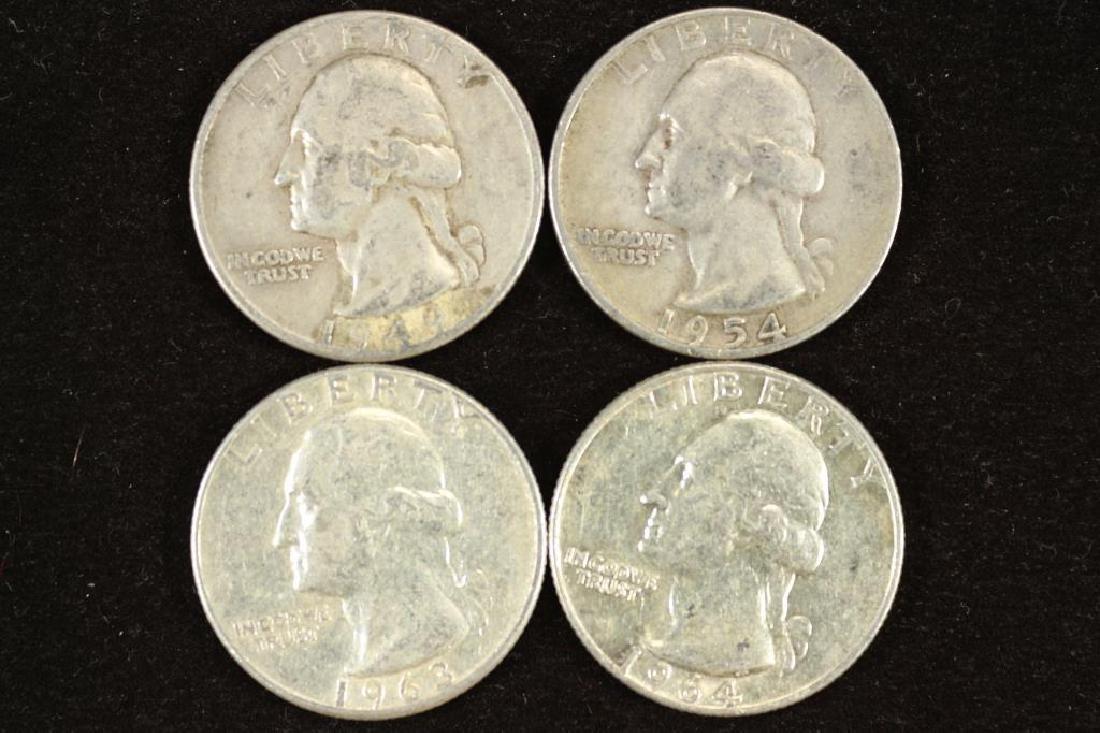 1949-D,54-D,63 & 64-D WASHINGTON SILVER QUARTERS