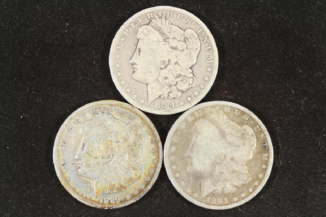 1884-O, 1889-O & 1891 MORGAN SILVER DOLLARS