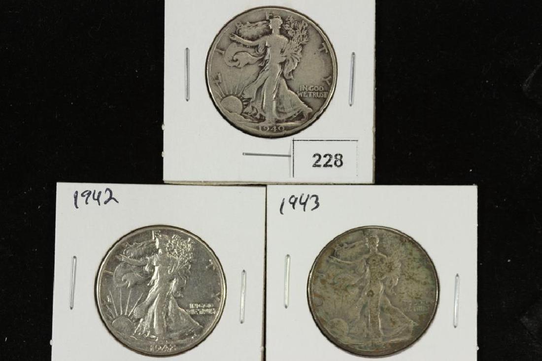 1940,42 & 1943 WALKING LIBERTY HALF DOLLARS