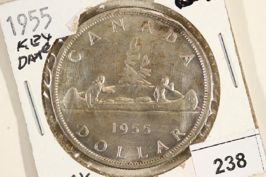 1955 CANADA SILVER DOLLAR UNC
