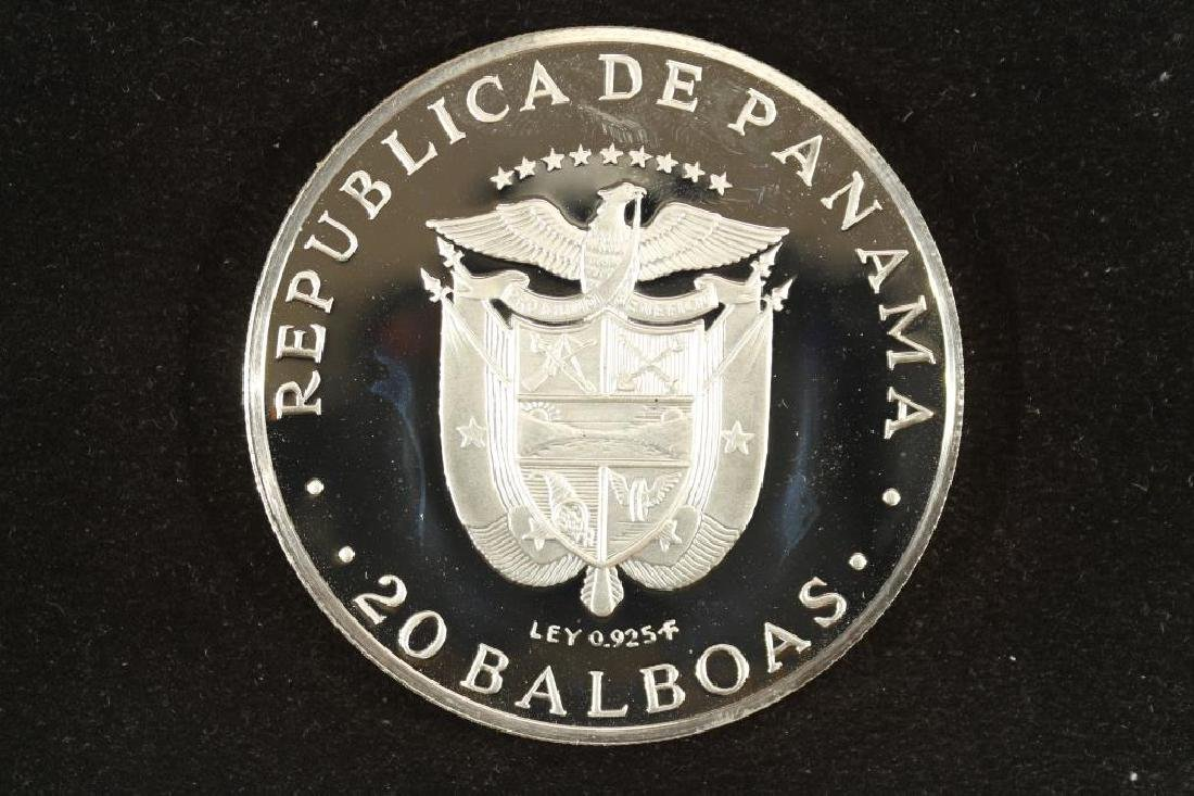 1975 PANAMA SILVER PROOF 20 BALBOAS SIMON
