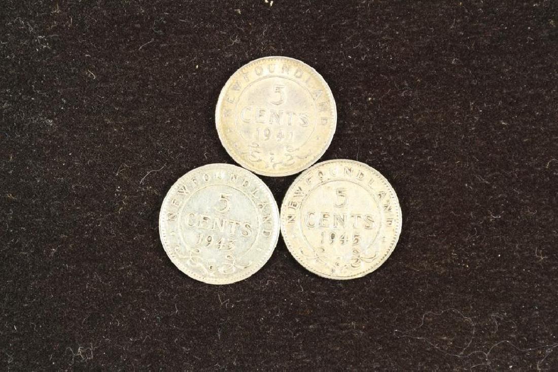1941,43 & 45 NEWFOUNDLAND SILVER 5 CENTS