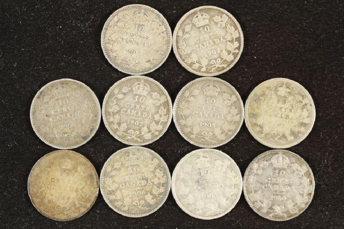 10-ASSORTED 1902-1910 CANADA SILVER 10 CENTS