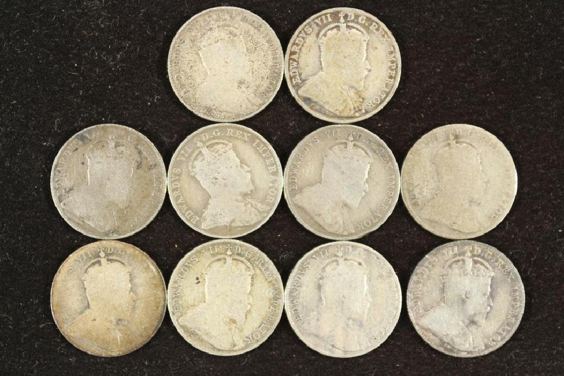 10-ASSORTED 1902-1910 CANADA SILVER 10 CENTS - 2