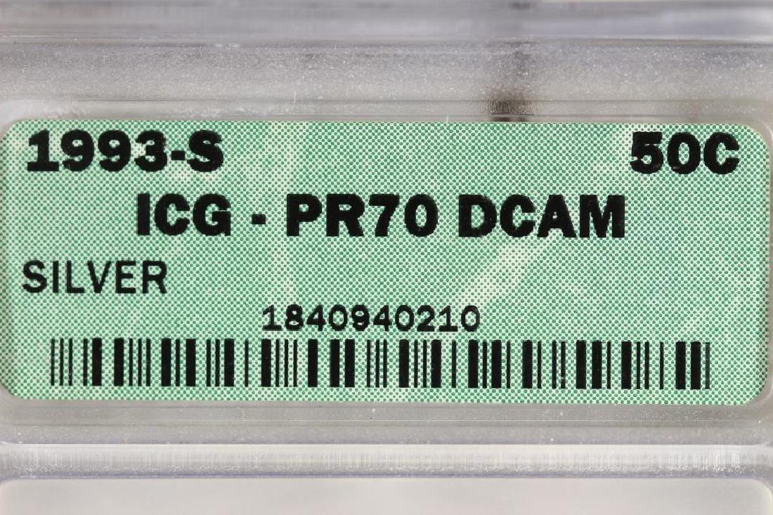 1993-S SILVER KENNEDY HALF DOLLAR ICG PR70 DCAM - 3