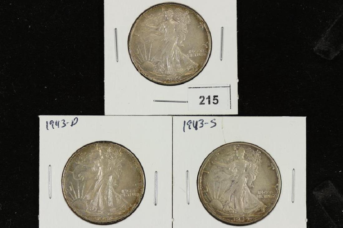 1943-P/D/S WALKING LIBERTY HALF DOLLARS