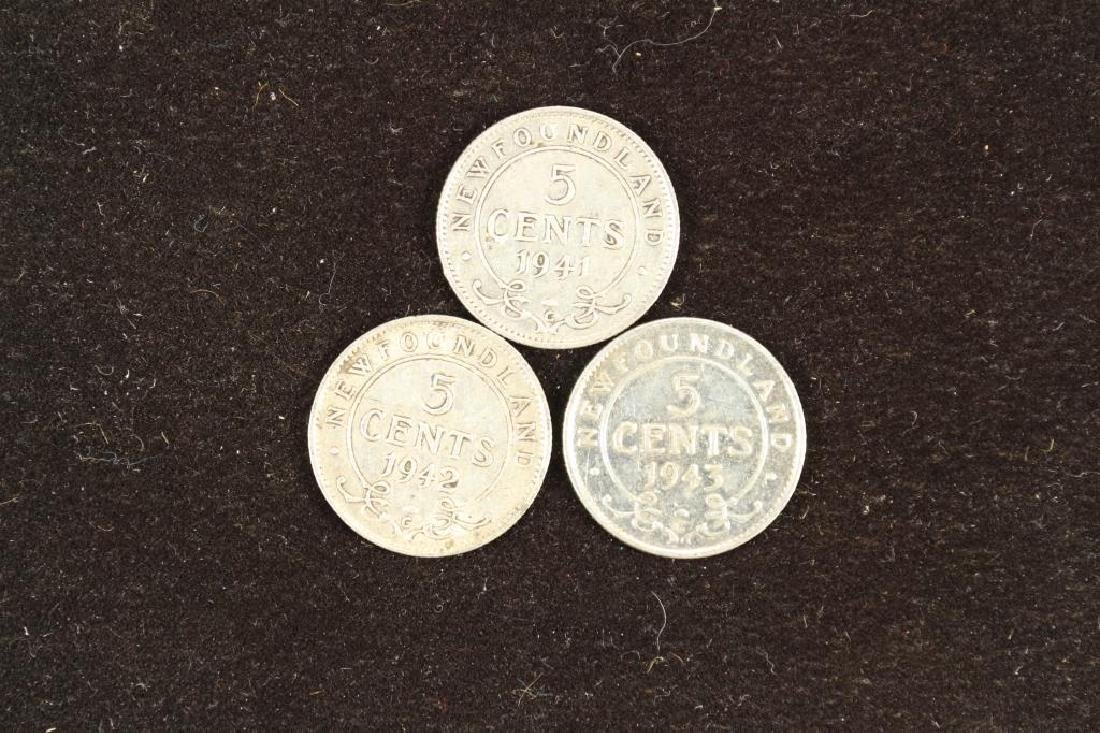 1941,42 & 43 NEWFOUNDLAND SILVER 5 CENTS