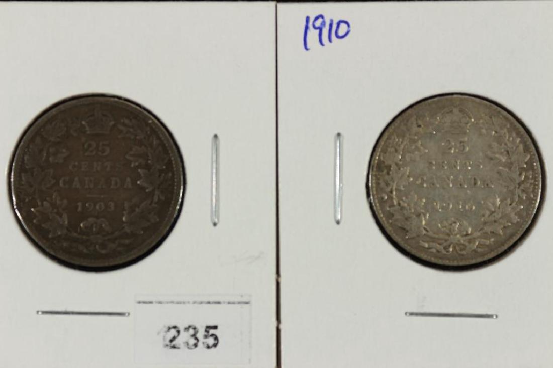 1903 & 1910 CANADA SILVER 25 CENTS