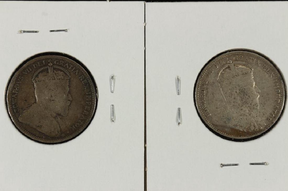 1903 & 1910 CANADA SILVER 25 CENTS - 2