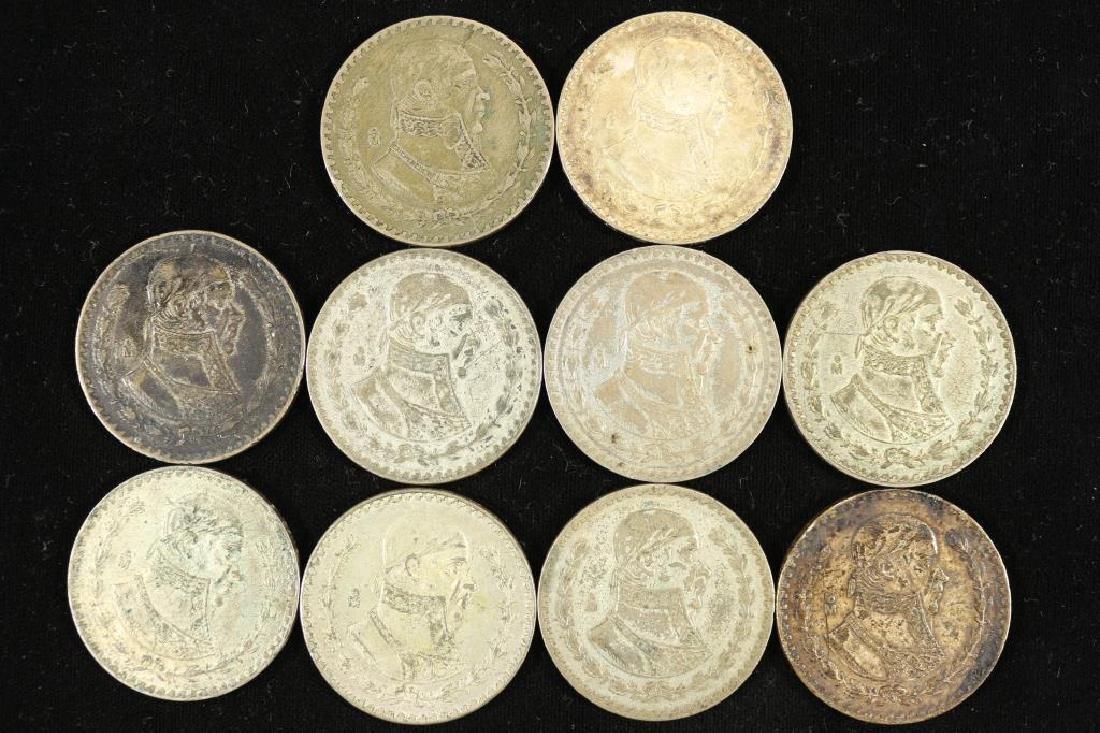 10 ASSORTED 1957-1964 MEXICO .100 SILVER PESOS - 2