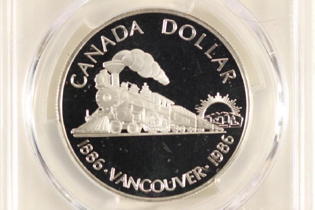 1986 CANADA VANCOUVER SILVER DOLLAR PCGS PR69