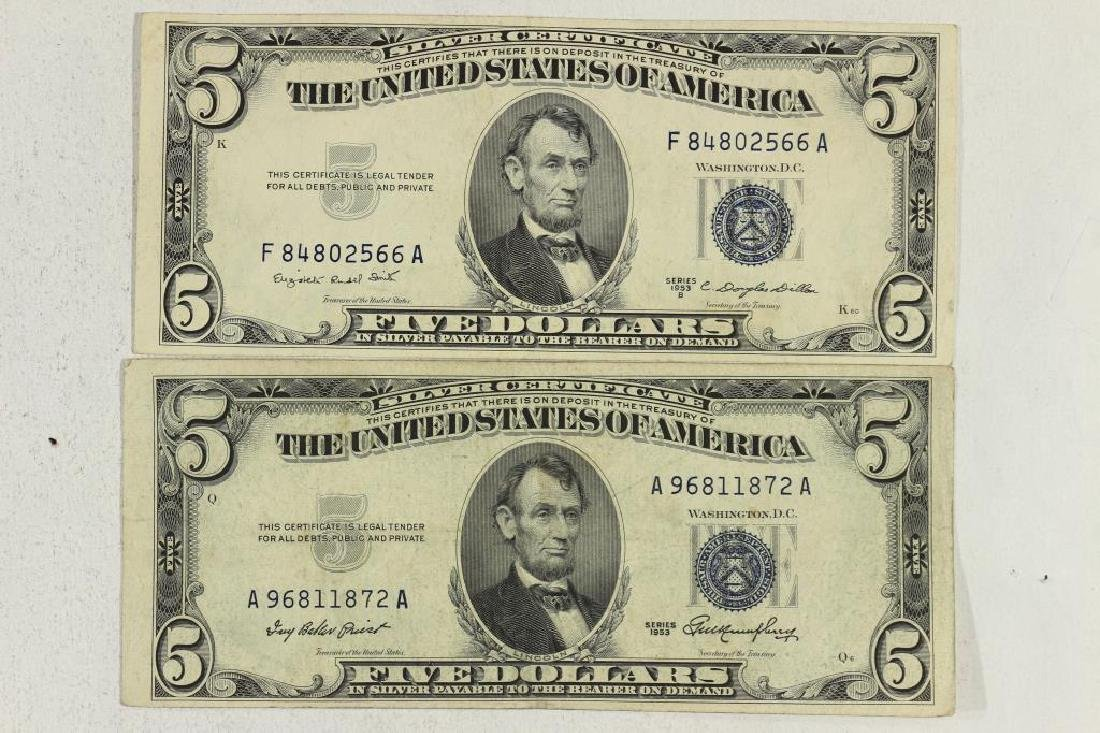 1953 & 1953-B $5 SILVER CERTIFICATES BLUE SEALS