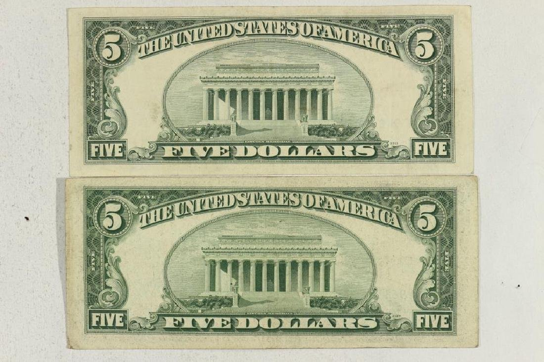 1953 & 1953-B $5 SILVER CERTIFICATES BLUE SEALS - 2