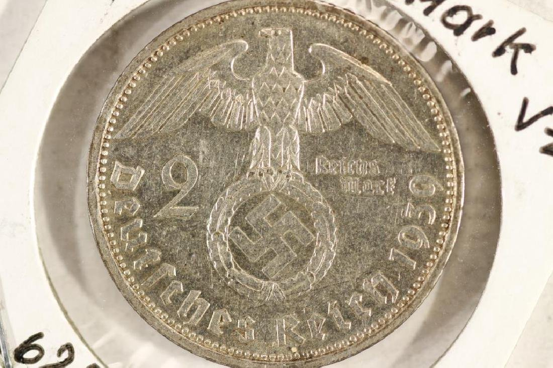 1939-A GERMAN SILVER 2 MARK WITH SWASTIKA