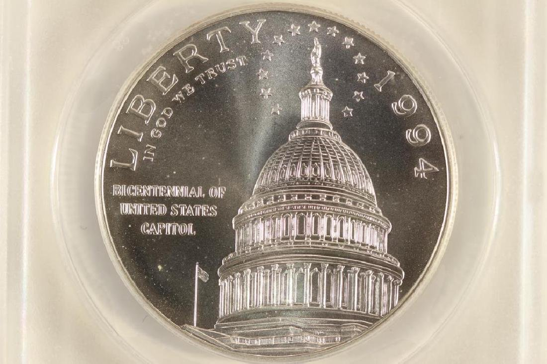 1994-D US CAPITOL SILVER DOLLAR ANACS MS70